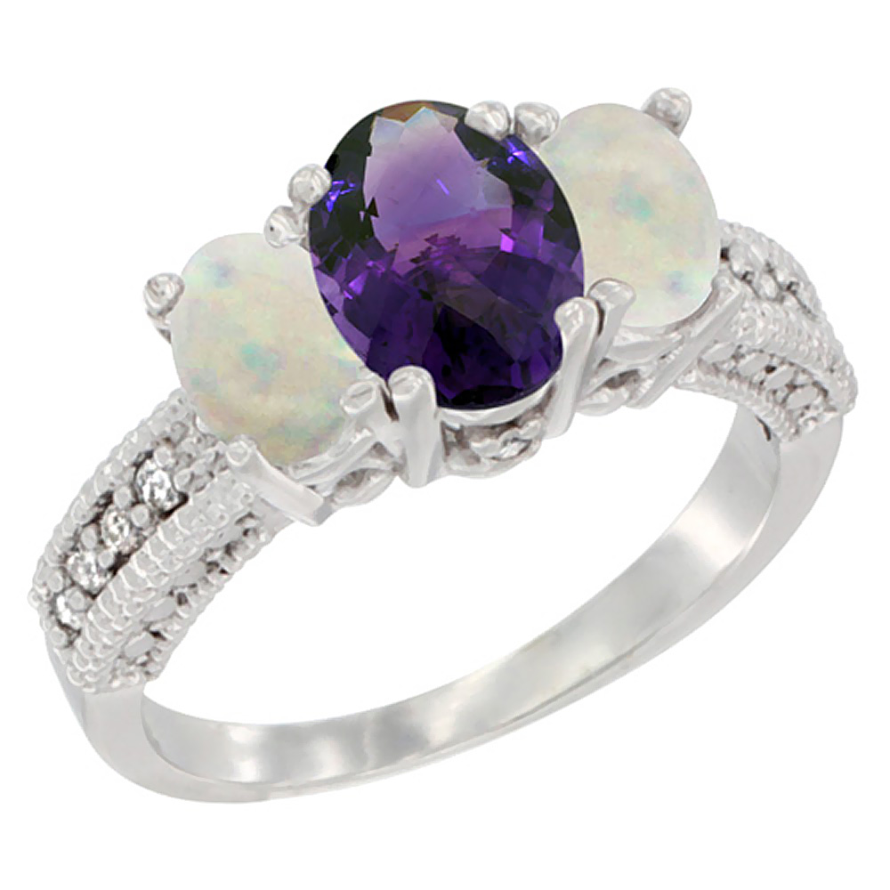 14k White Gold Ladies Oval Natural Amethyst 3-Stone Ring with Opal Sides Diamond Accent