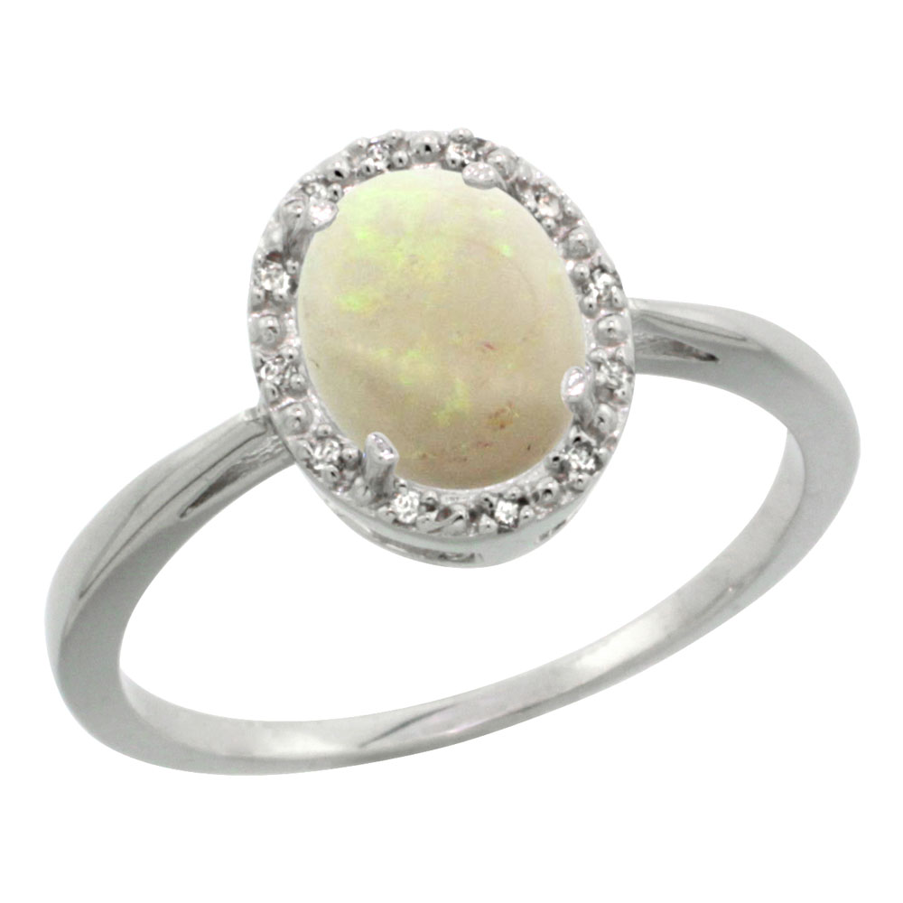14K White Gold Natural Opal Diamond Halo Ring Oval 8X6mm, sizes 5-10