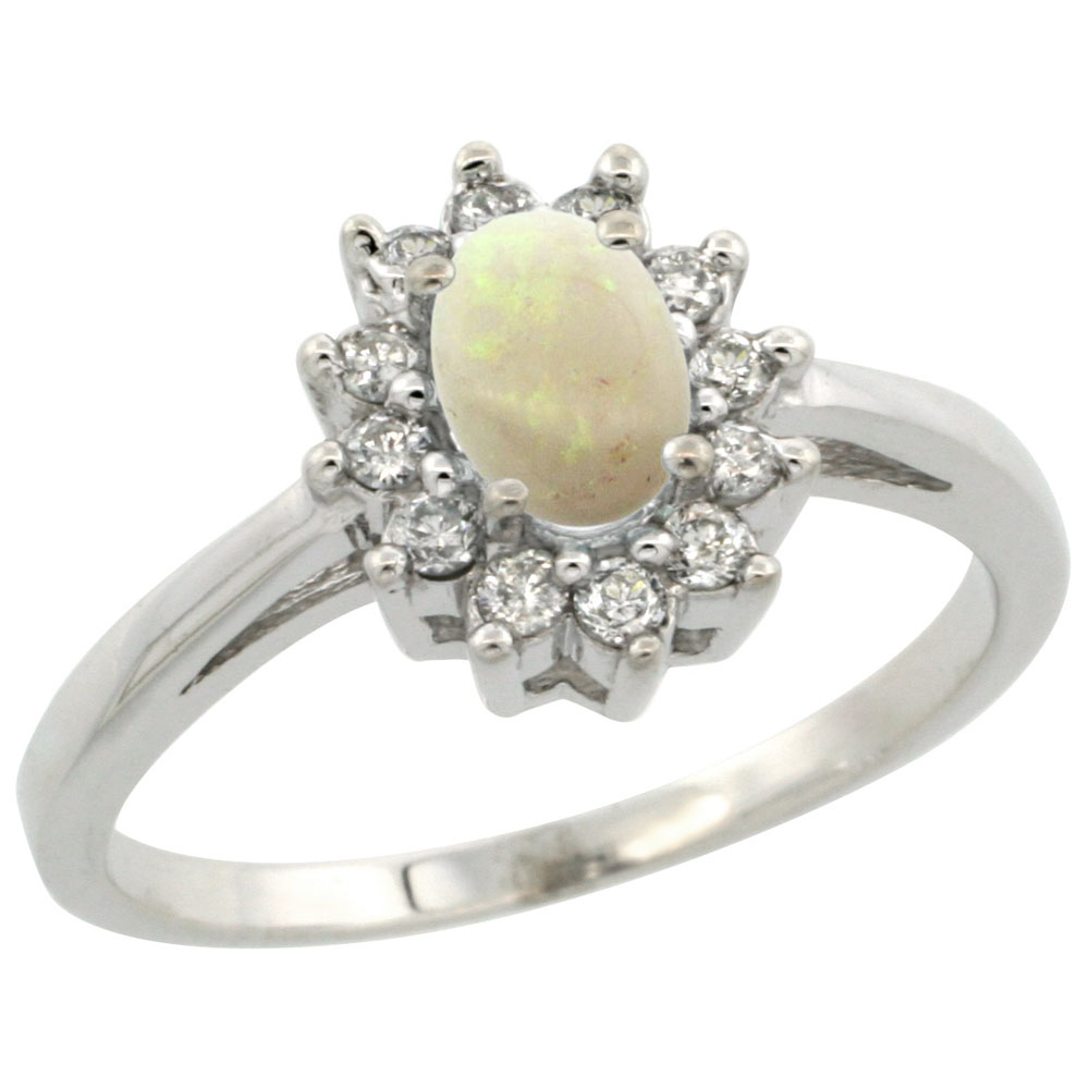 14K White Gold Natural Opal Flower Diamond Halo Ring Oval 6x4 mm, sizes 5-10