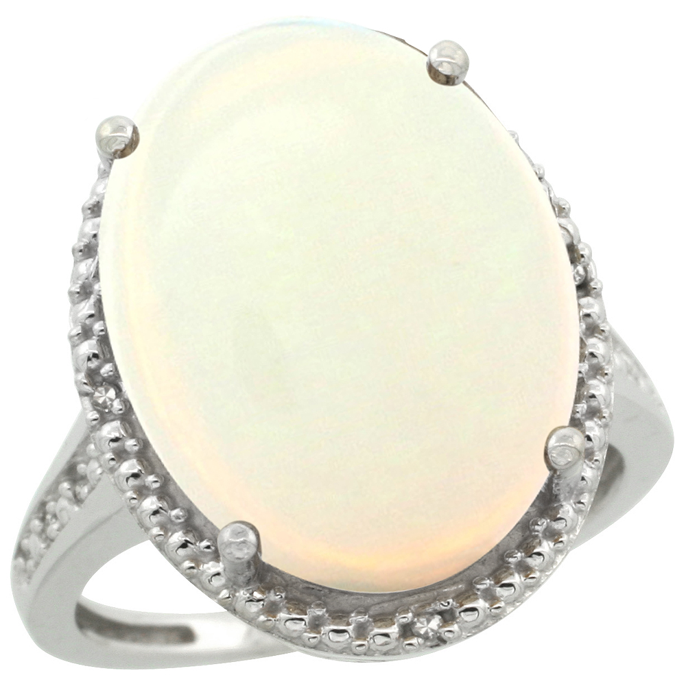 14K White Gold Diamond Natural Opal Ring Oval 18x13mm, sizes 5-10