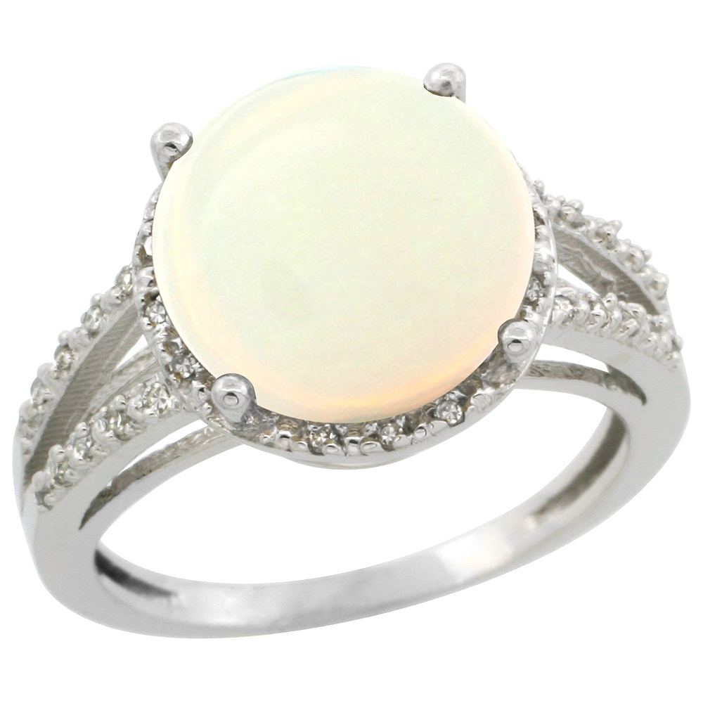 14K White Gold Diamond Natural Opal Ring Round 11mm, sizes 5-10