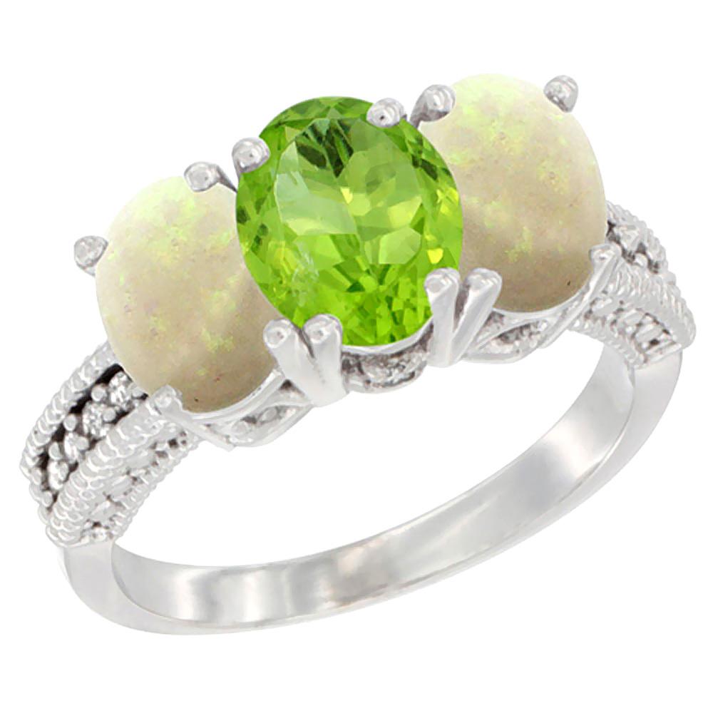 10K White Gold Diamond Natural Peridot & Opal Ring 3-Stone 7x5 mm Oval, sizes 5 - 10