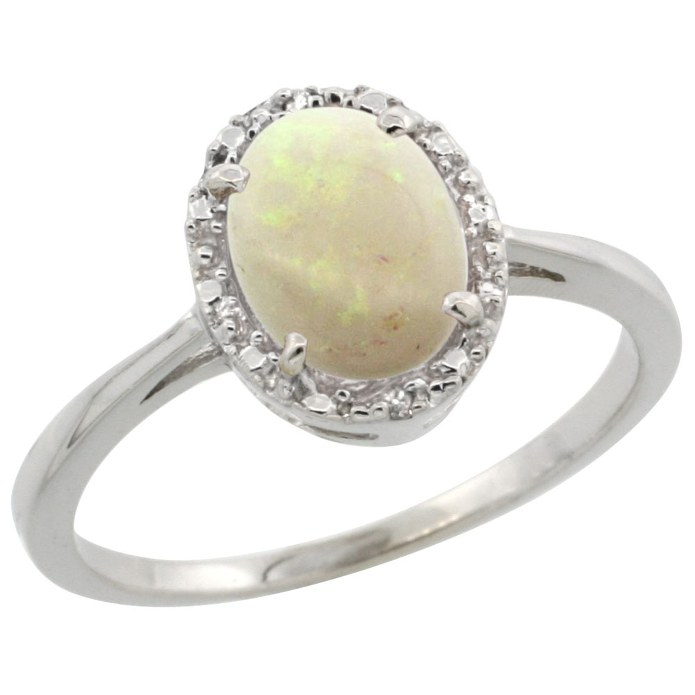 14K White Gold Natural Opal Ring Oval 8x6 mm Diamond Halo, sizes 5-10