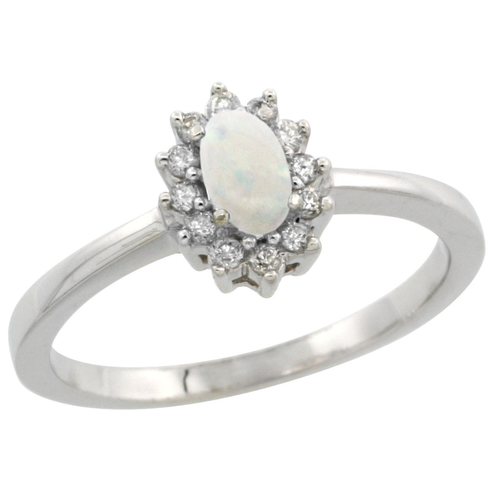 14K White Gold Natural Opal Ring Oval 5x3mm Diamond Halo, sizes 5-10