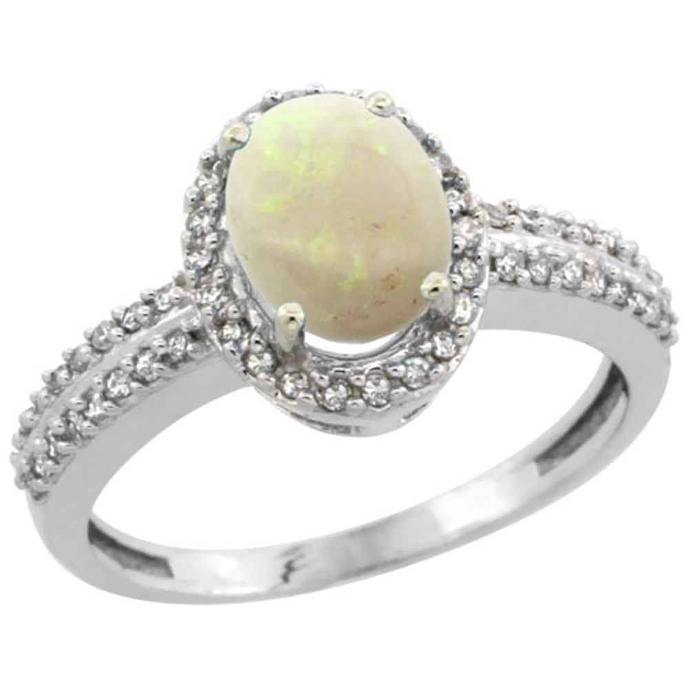 14K White Gold Natural Opal Ring Oval 8x6mm Diamond Halo, sizes 5-10