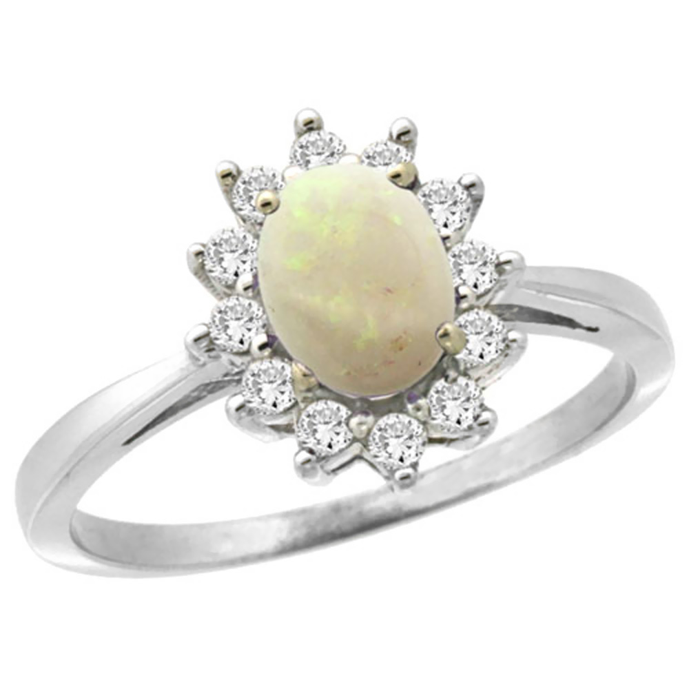14K White Gold Natural Opal Engagement Ring Oval 7x5mm Diamond Halo, sizes 5-10