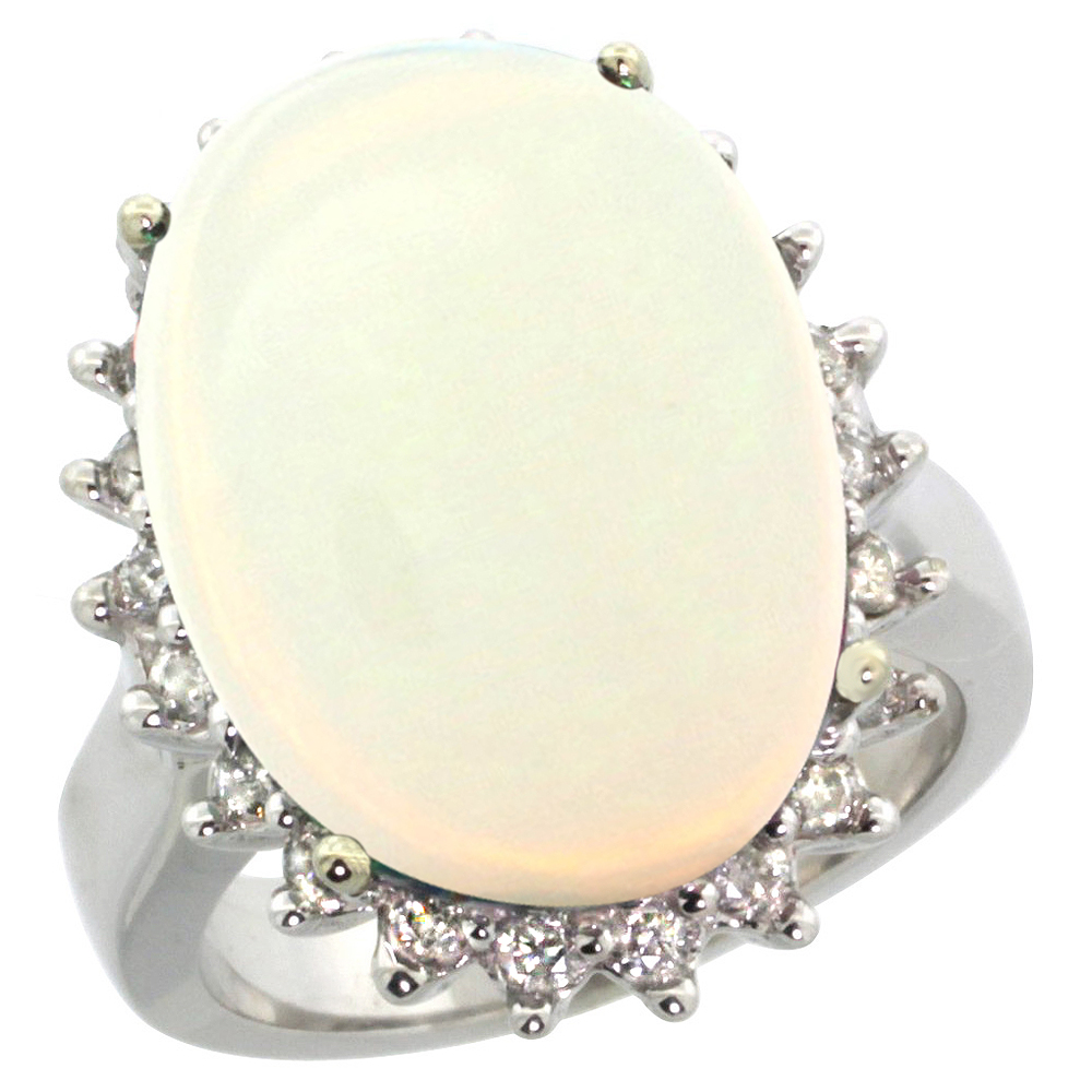 14k White Gold Diamond Halo Natural Opal Ring Large Oval 18x13mm, sizes 5-10