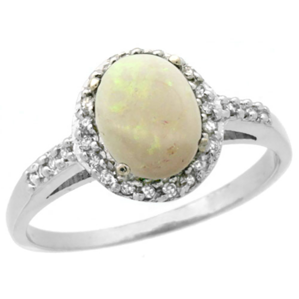 10K White Gold Diamond Natural Opal Ring Oval 8x6mm, sizes 5-10
