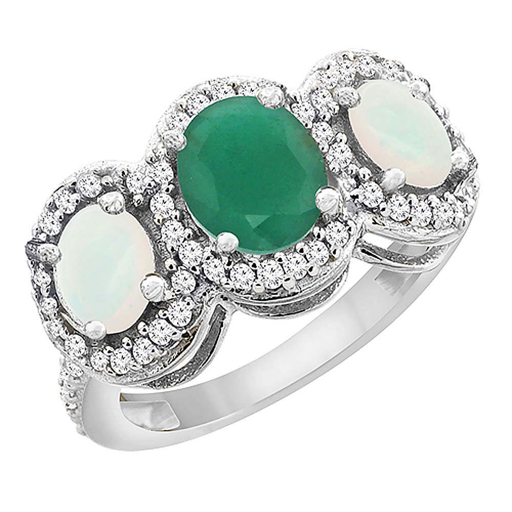 14K White Gold Natural Cabochon Emerald & Opal 3-Stone Ring Oval Diamond Accent, sizes 5 - 10
