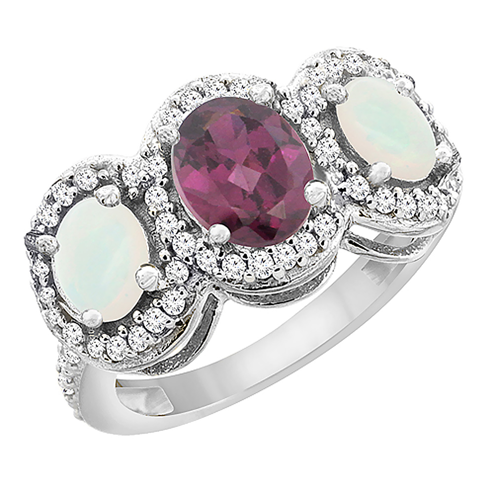 14K White Gold Natural Rhodolite & Opal 3-Stone Ring Oval Diamond Accent, sizes 5 - 10