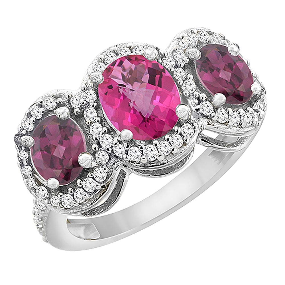 14K White Gold Natural Pink Sapphire & Rhodolite 3-Stone Ring Oval Diamond Accent, sizes 5 - 10