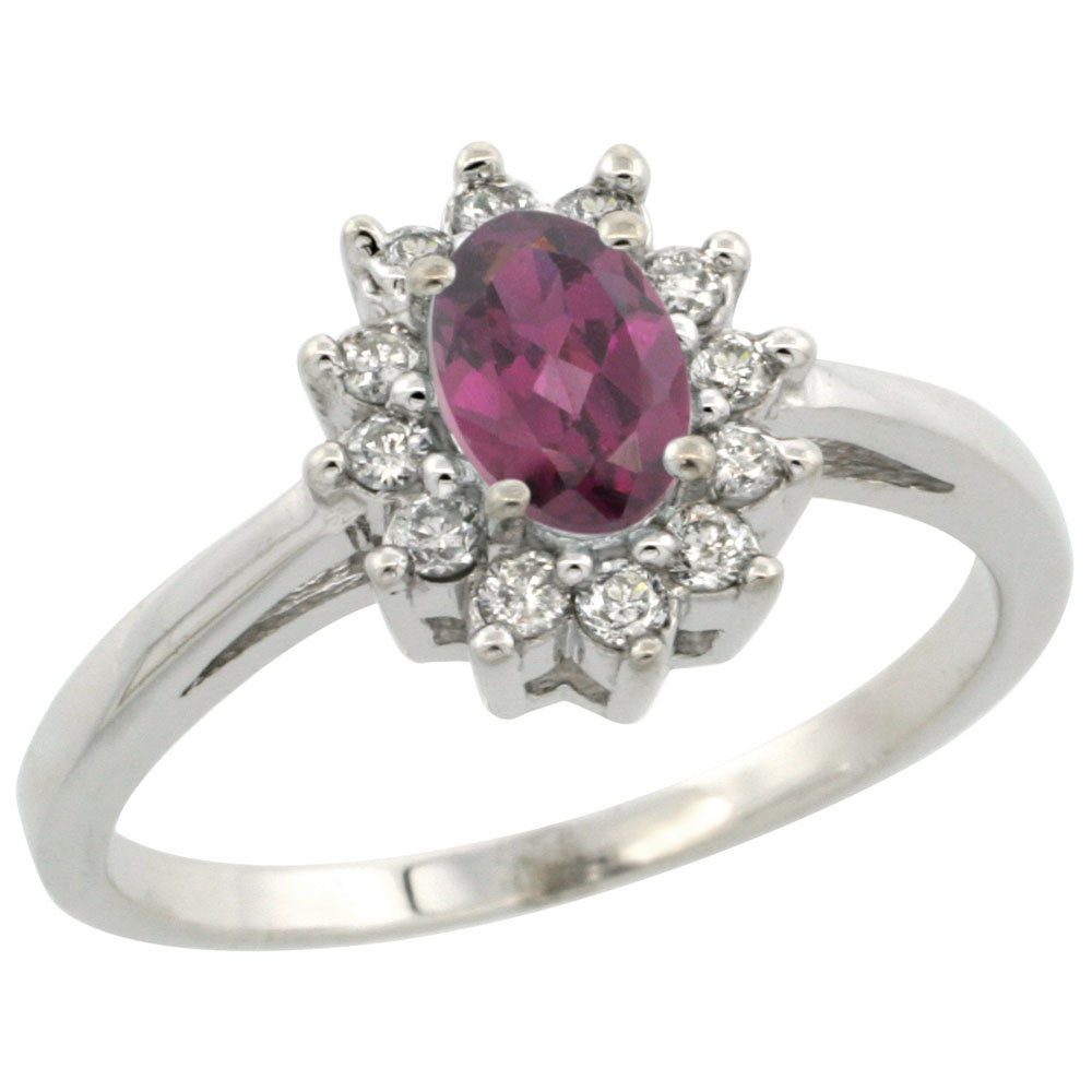 14K White Gold Natural Rhodolite Flower Diamond Halo Ring Oval 6x4 mm, sizes 5 10