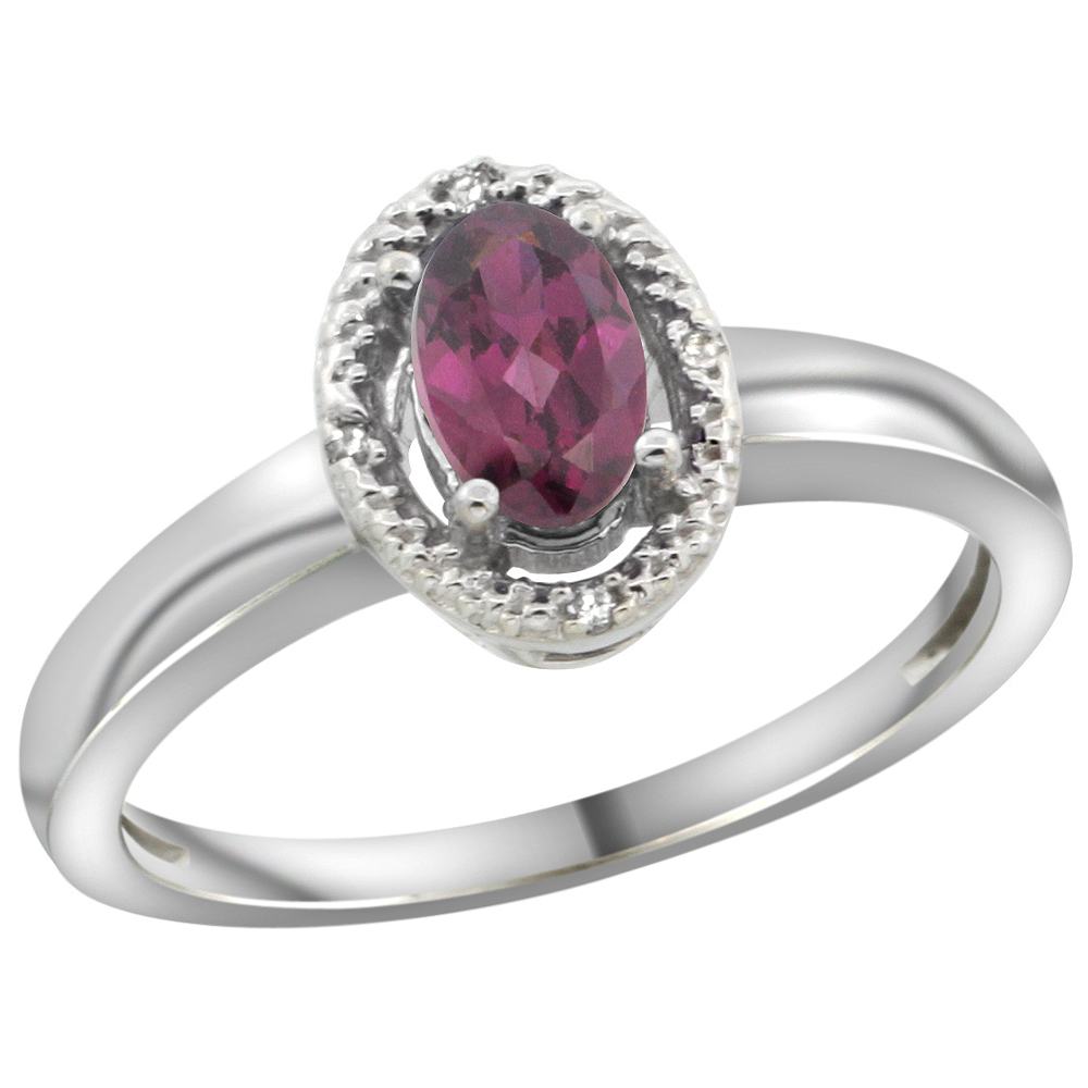 14K White Gold Diamond Halo Natural Rhodolite Engagement Ring Oval 6X4 mm, sizes 5-10