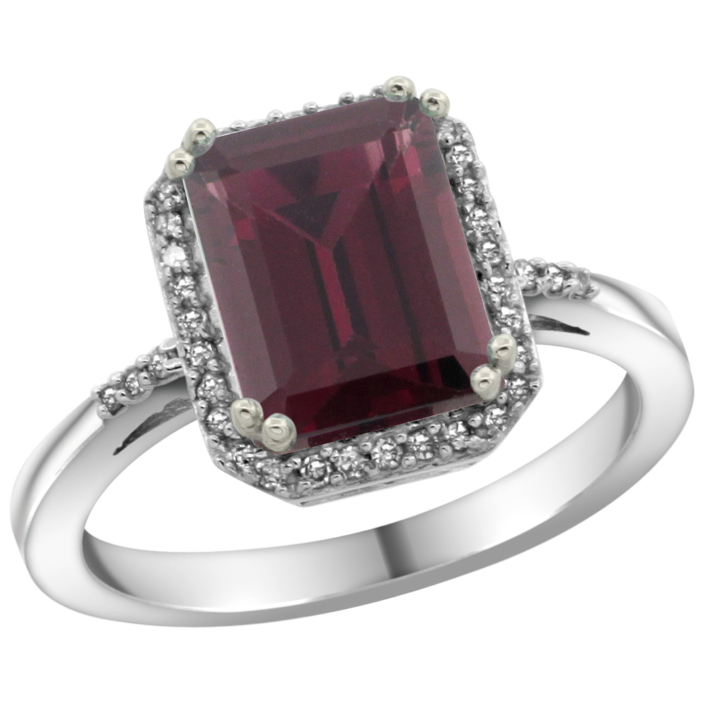 14K White Gold Diamond Natural Rhodolite Ring Emerald-cut 9x7mm, sizes 5-10