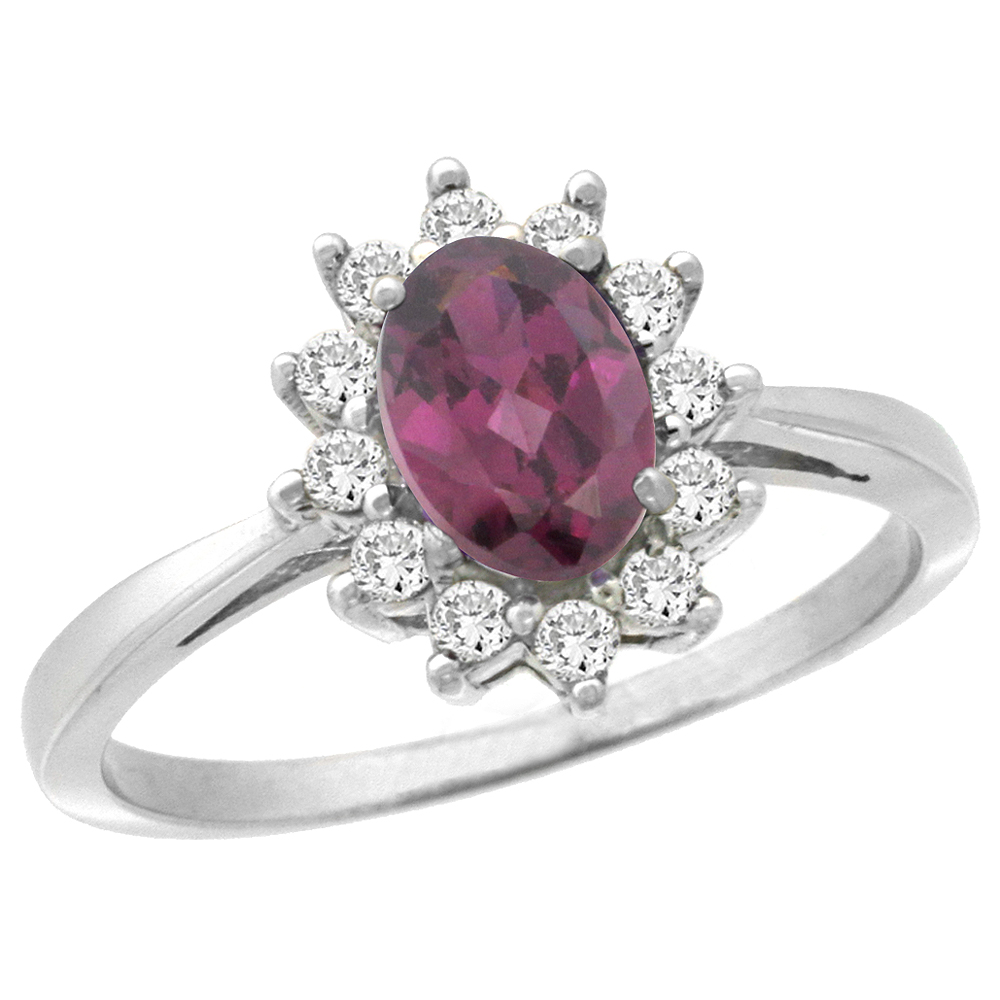 10k White Gold Natural Rhodolite Engagement Ring Oval 7x5mm Diamond Halo, sizes 5-10