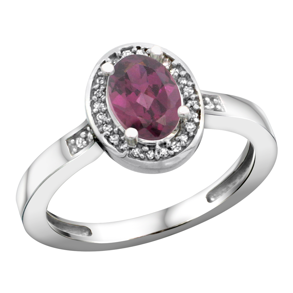 14K White Gold Diamond Natural Rhodolite Engagement Ring Oval 7x5mm, sizes 5-10
