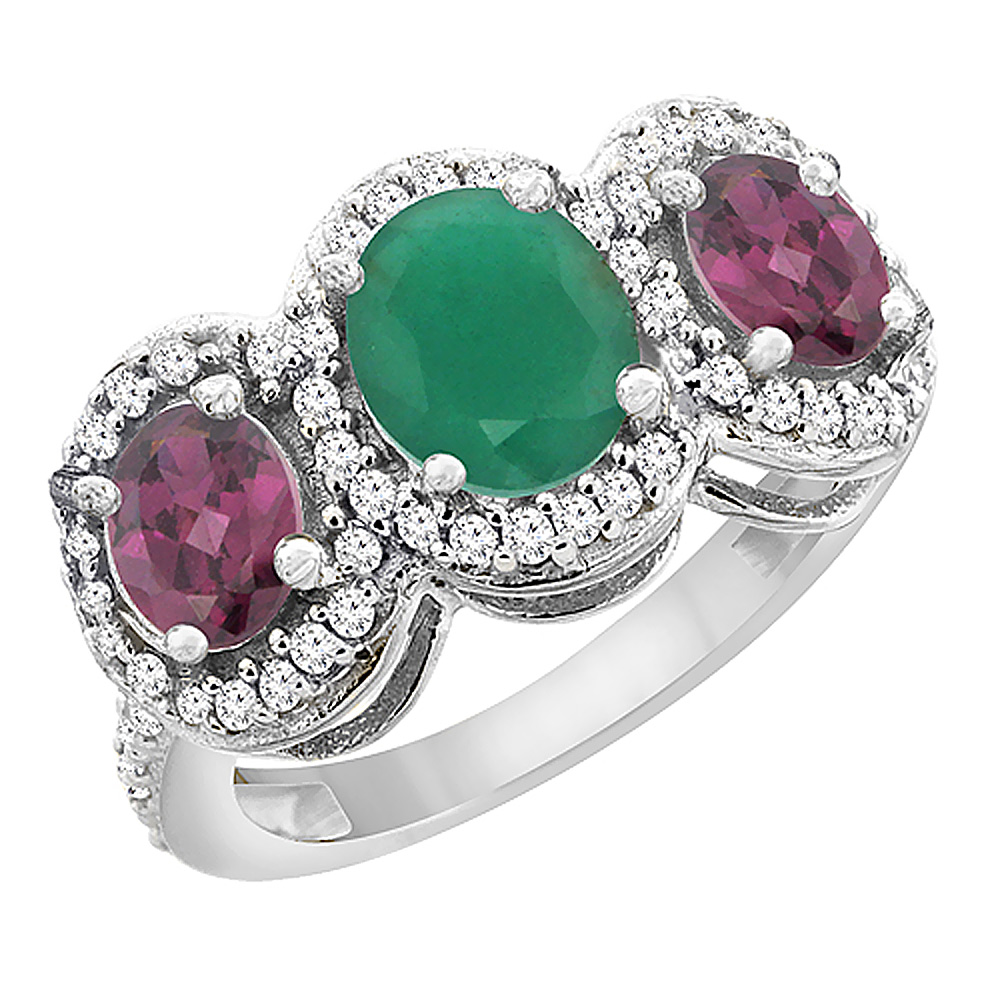 14K White Gold Natural Cabochon Emerald & Rhodolite 3-Stone Ring Oval Diamond Accent, sizes 5 - 10