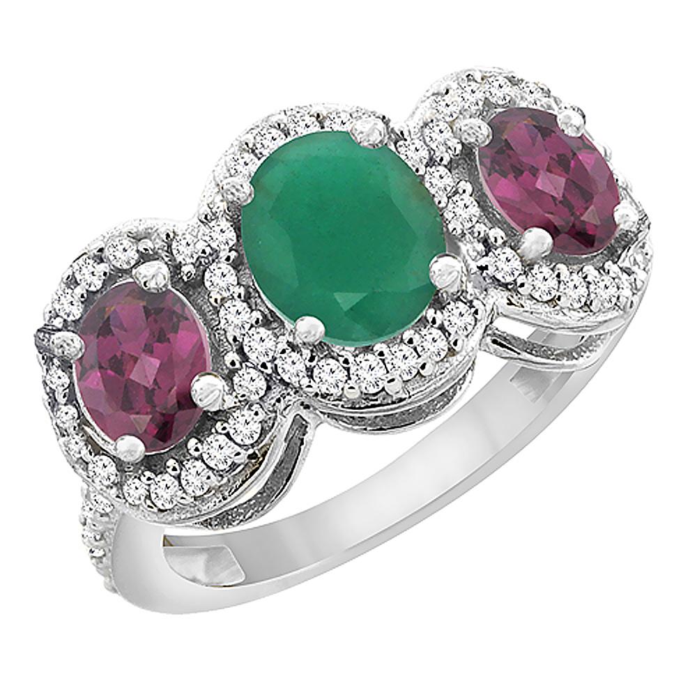 14K White Gold Natural Cabochon Emerald & Rhodolite 3-Stone Ring Oval Diamond Accent, sizes 5 - 10