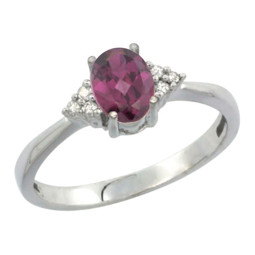 10K White Gold Diamond Natural Rhodolite Engagement Ring Oval 7x5mm, sizes 5-10