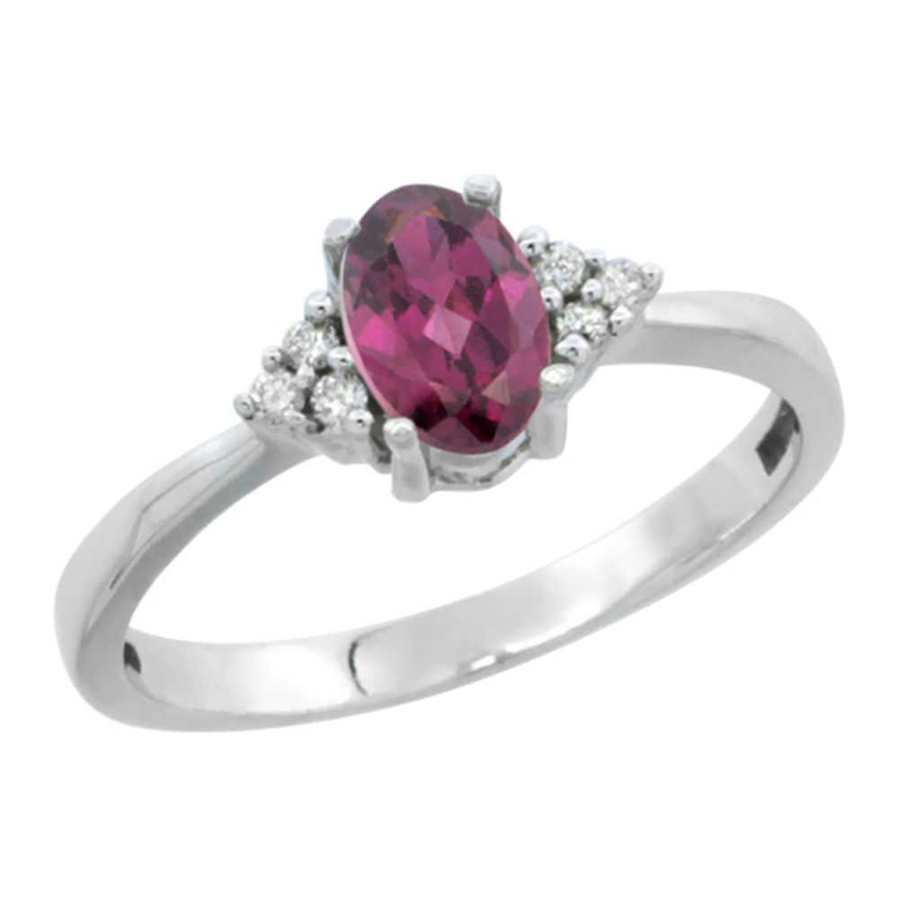 14KWhite Gold Natural Rhodolite Ring Oval 6x4mm Diamond Accent, sizes 5-10