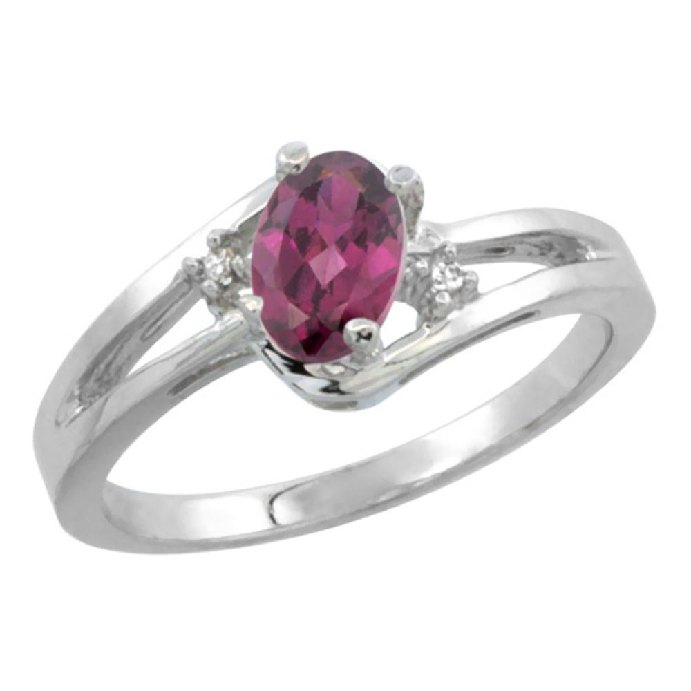 14K White Gold Diamond Natural Rhodolite Ring Oval 6x4 mm, sizes 5-10