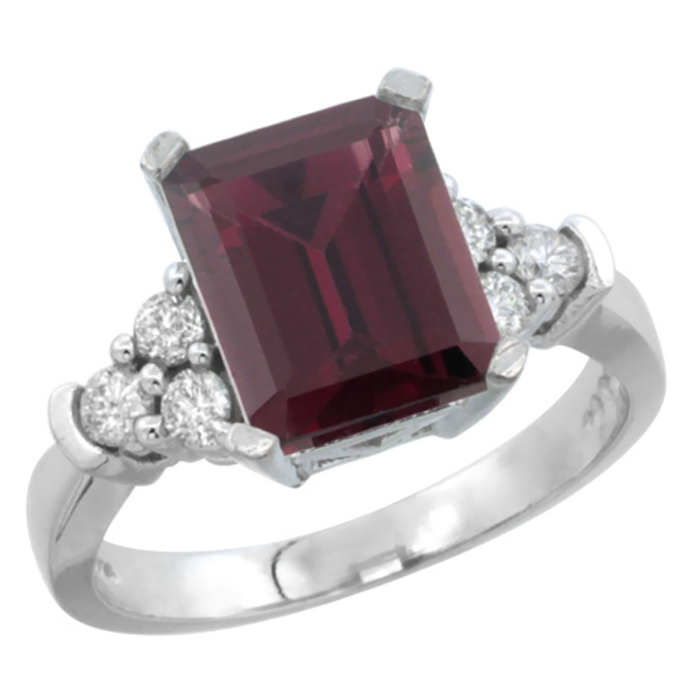 14K White Gold Natural Rhodolite Ring Octagon 9x7mm Diamond Accent, sizes 5-10