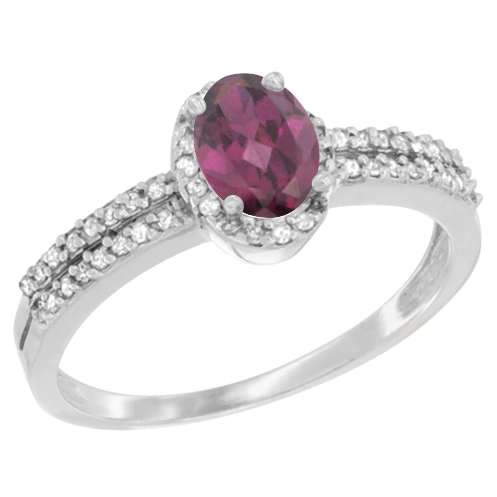 14K White Gold Natural Rhodolite Ring Oval 6x4mm Diamond Accent, sizes 5-10
