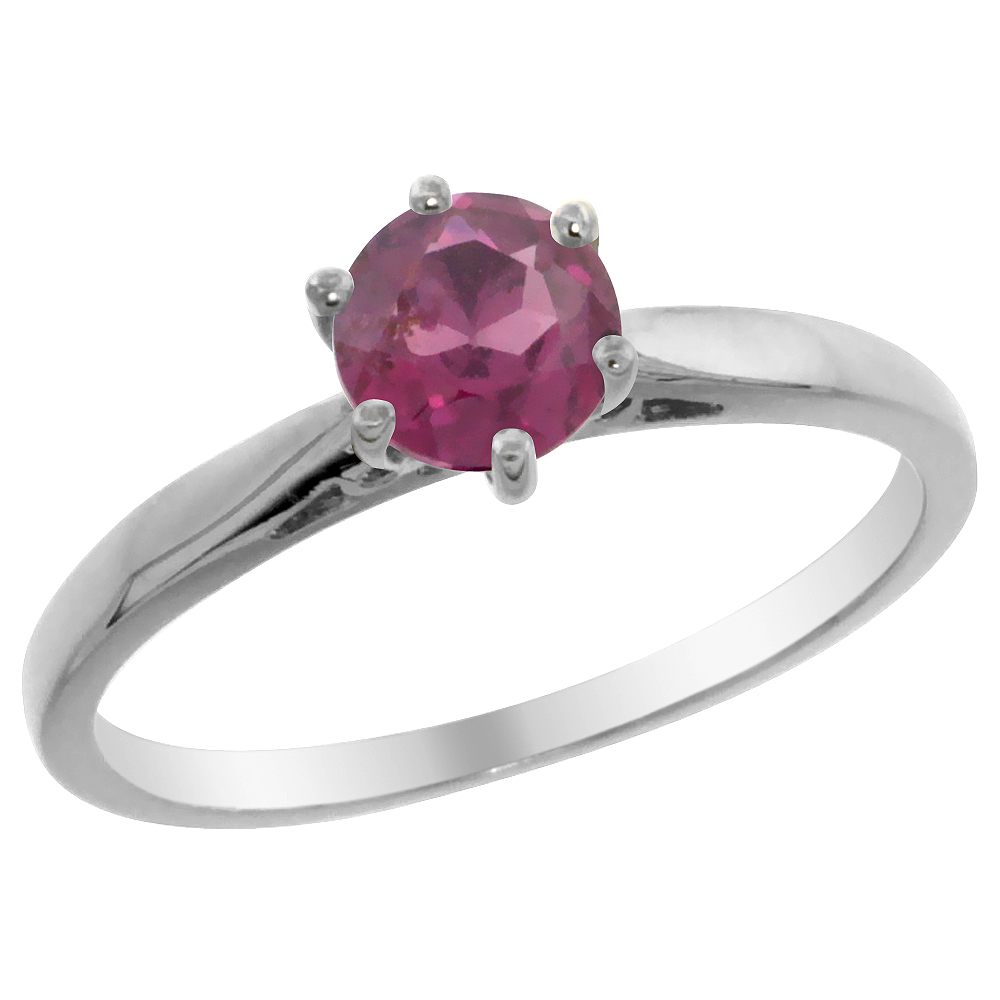 14K White Gold Natural Rhodolite Solitaire Ring Round 5mm, sizes 5 - 10