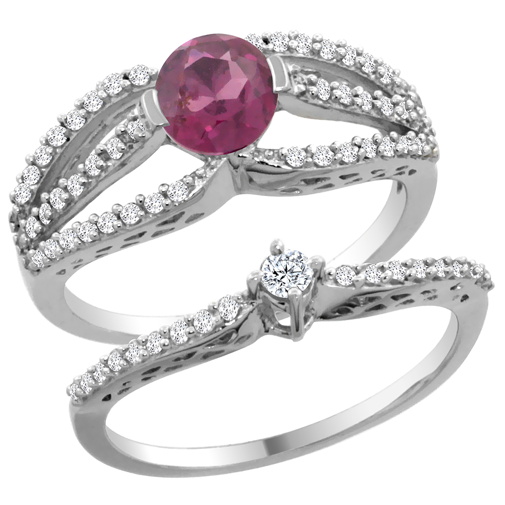 14K White Gold Natural Rhodolite 2-piece Engagement Ring Set Round 5mm, sizes 5 - 10
