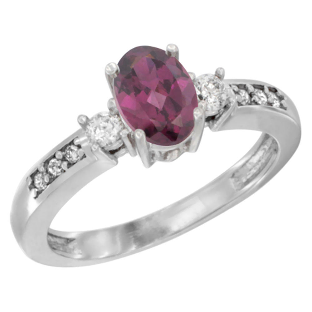 10K White Gold Diamond Natural Rhodolite Engagement Ring Oval 7x5 mm, sizes 5 - 10