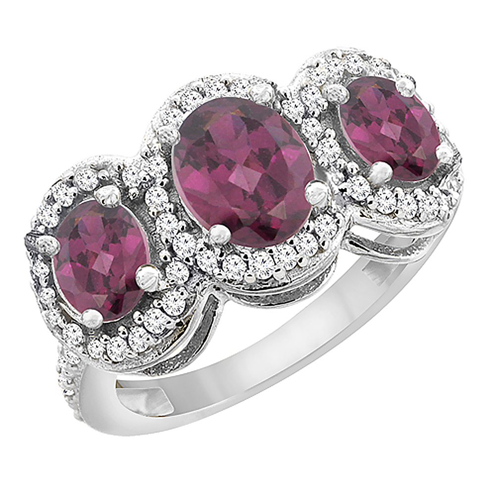 10K White Gold Natural Rhodolite 3-Stone Ring Oval Diamond Accent, sizes 5 - 10