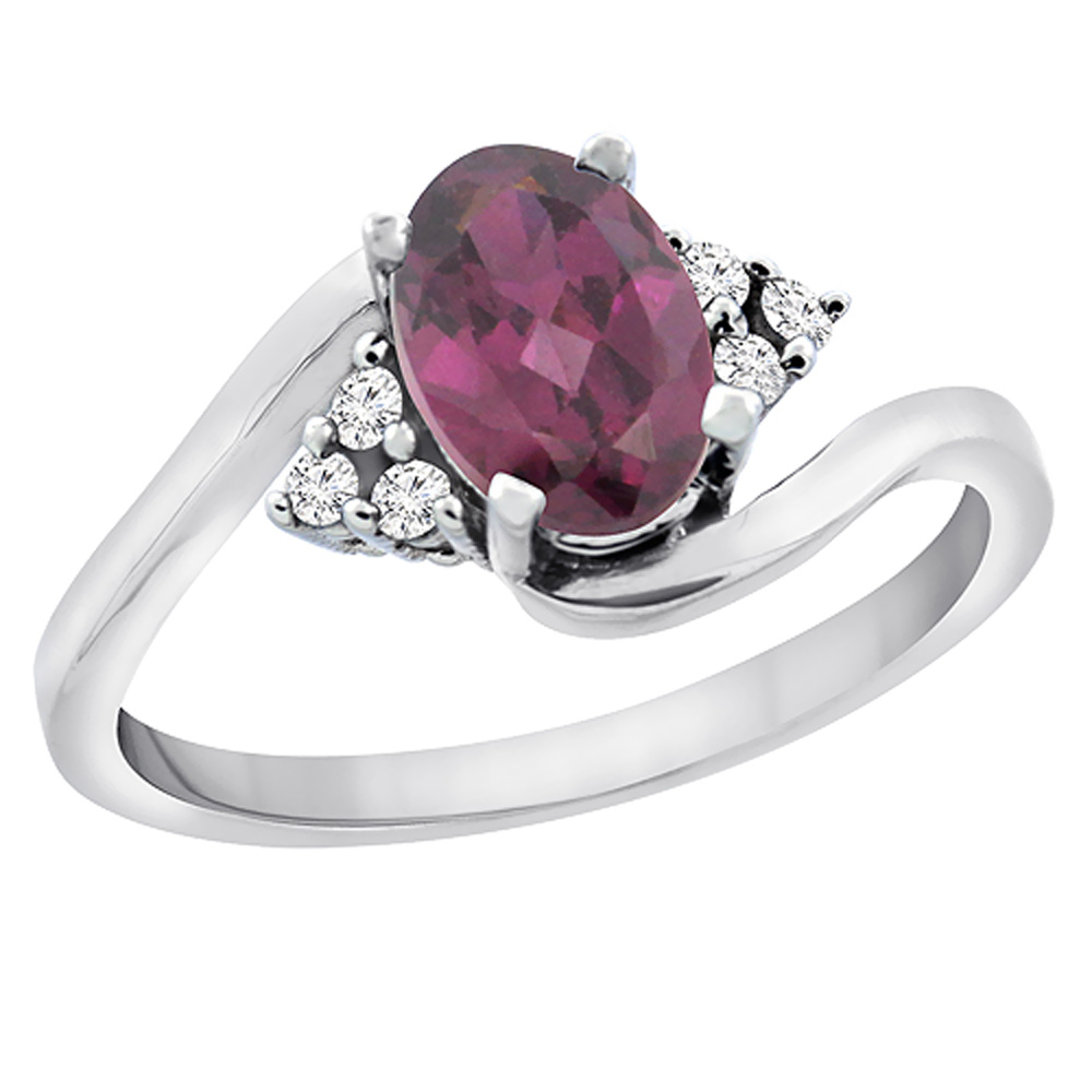 14K White Gold Diamond Natural Rhodolite Engagement Ring Oval 7x5mm, sizes 5 - 10