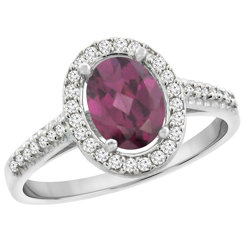 14K White Gold Natural Rhodolite Engagement Ring Oval 7x5 mm Diamond Halo, sizes 5 - 10