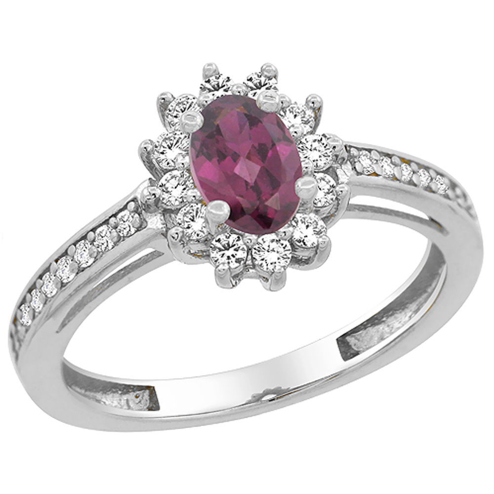 14K White Gold Natural Rhodolite Flower Halo Ring Oval 6x4mm Diamond Accents, sizes 5 - 10