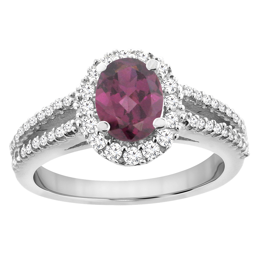14K White Gold Natural Rhodolite Split Shank Halo Engagement Ring Oval 7x5 mm, sizes 5 - 10
