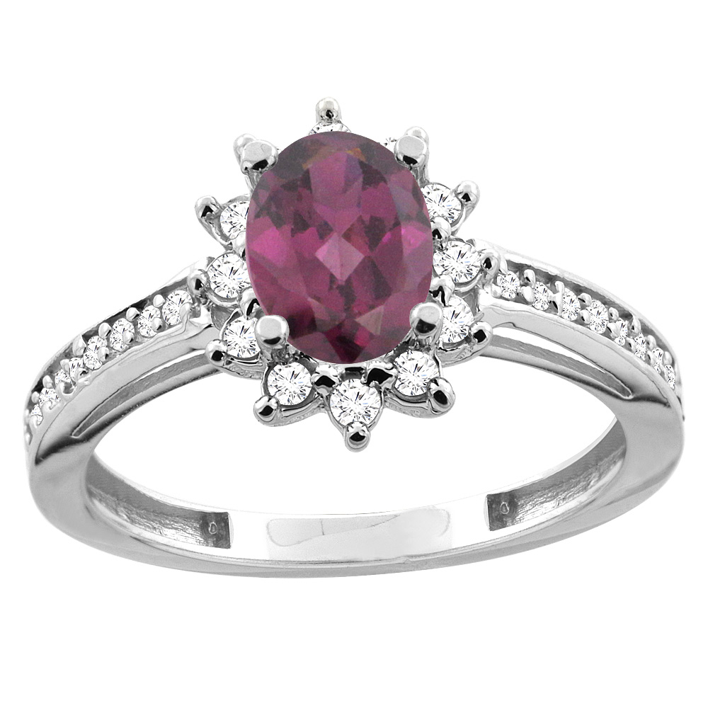 10K White/Yellow Gold Diamond Natural Rhodolite Floral Halo Engagement Ring Oval 7x5mm, sizes 5 - 10