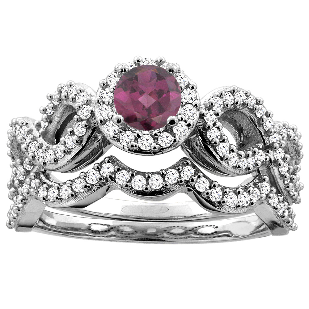 10K Yellow Gold Natural Rhodolite Engagement Halo Ring Round 5mm Diamond 2-piece Accents, sizes 5 - 10