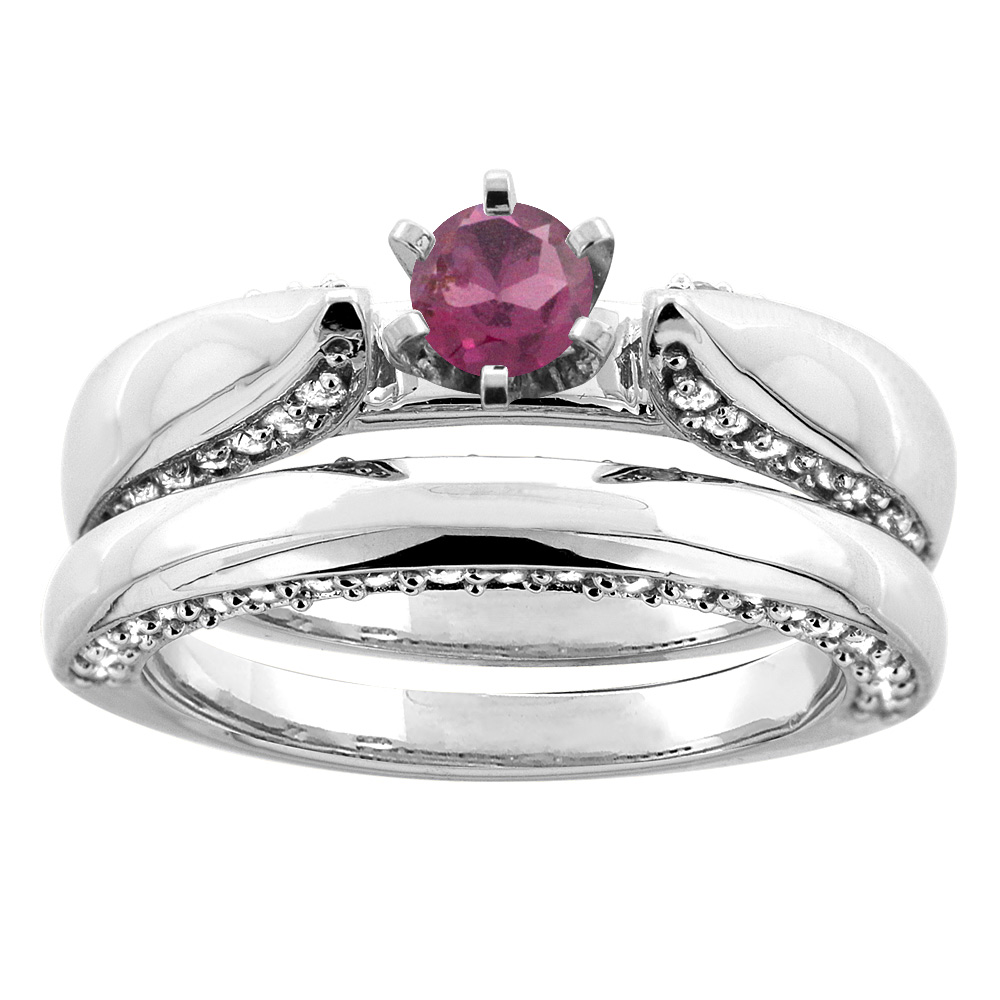 10K White Gold Natural Rhodolite 2-piece Bridal Ring Set Diamond Accents Round 5mm, sizes 5 - 10