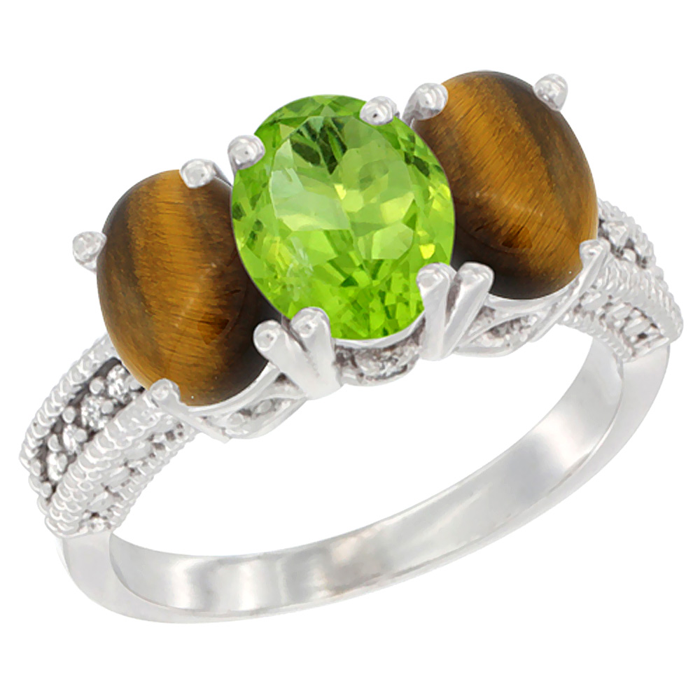 10K White Gold Diamond Natural Peridot & Tiger Eye Ring 3-Stone 7x5 mm Oval, sizes 5 - 10