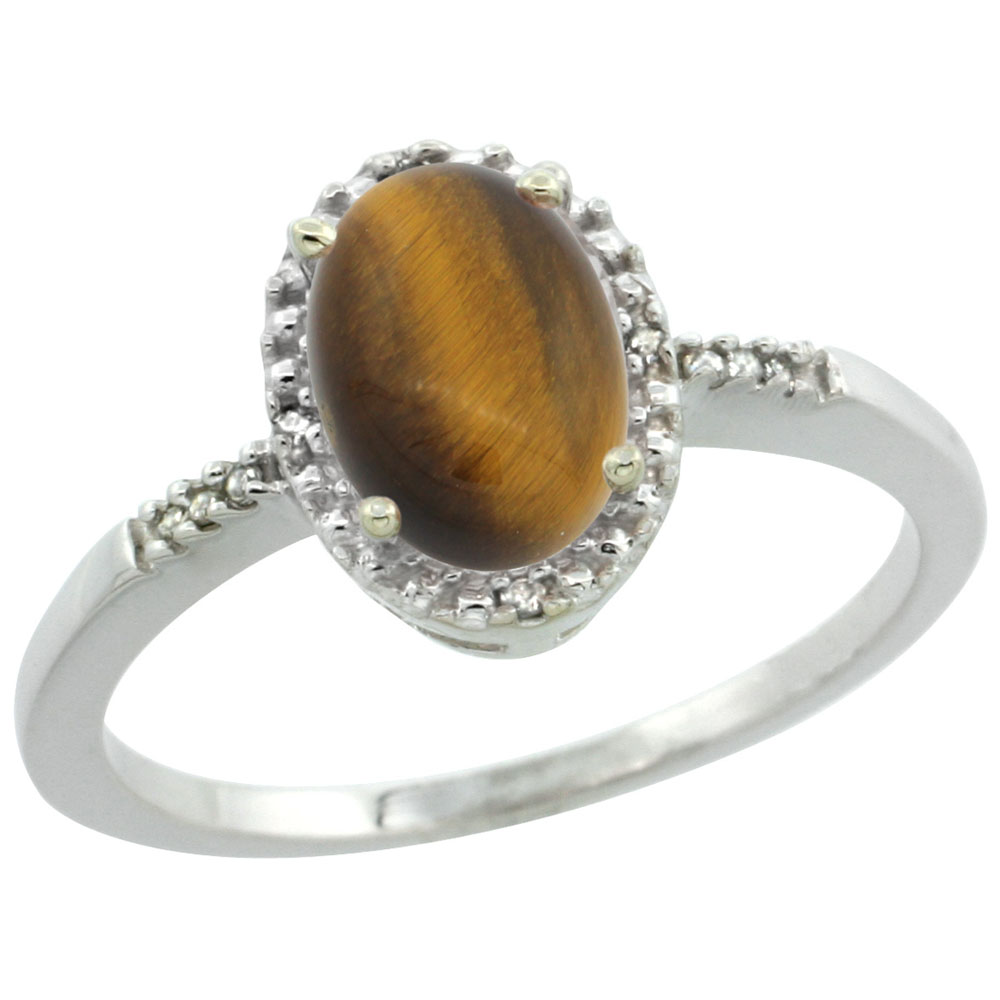 14K White Gold Diamond Natural Tiger Eye Ring Oval 8x6mm, sizes 5-10