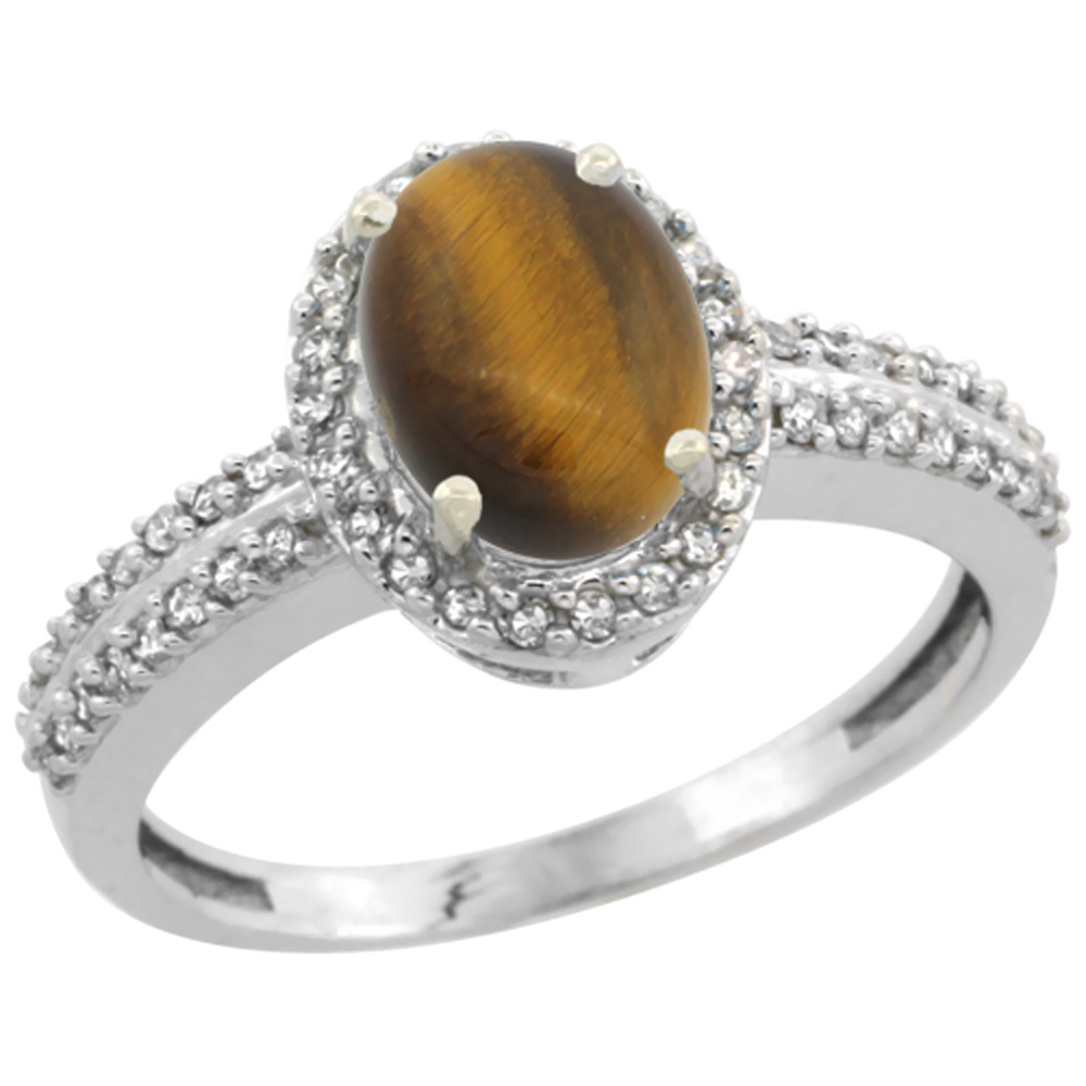 10k White Gold Natural Tiger Eye Ring Oval 8x6mm Diamond Halo, sizes 5-10