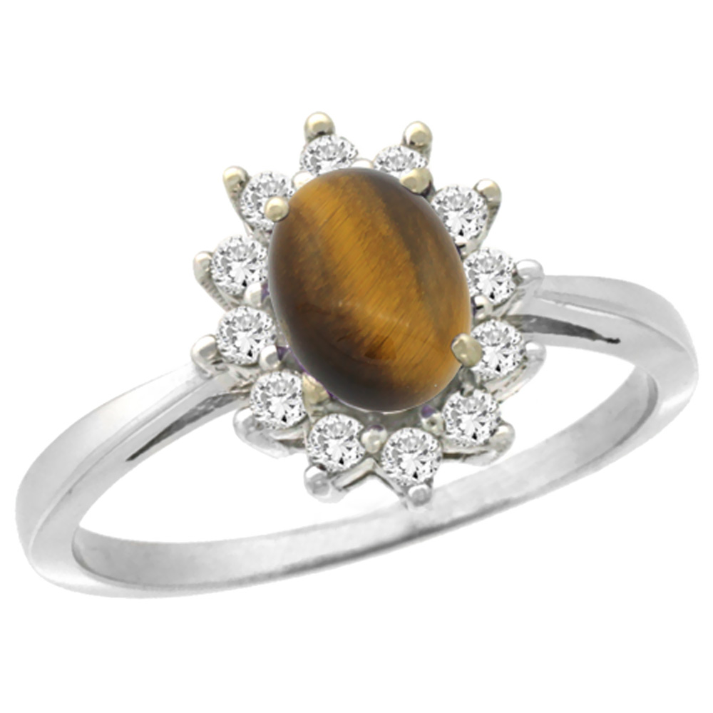 14K White Gold Natural Tiger Eye Engagement Ring Oval 7x5mm Diamond Halo, sizes 5-10