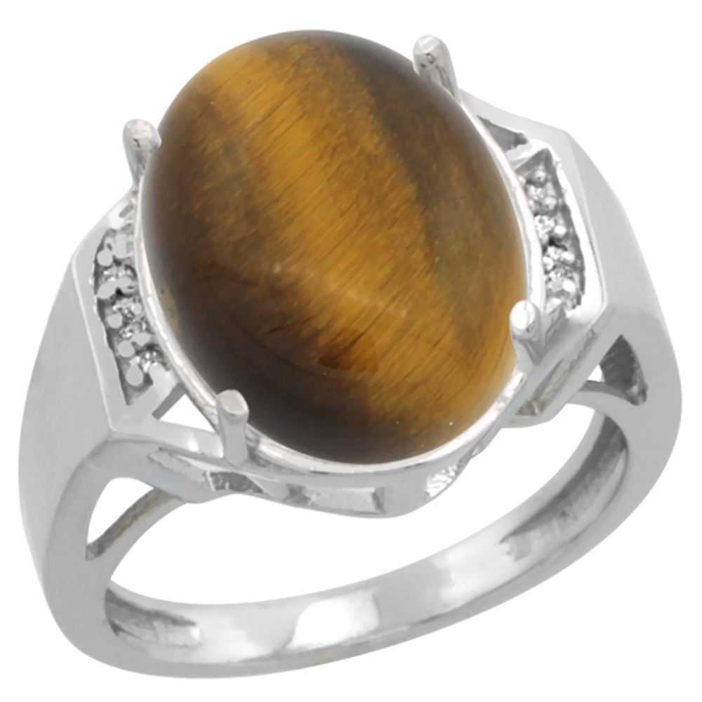 10K White Gold Diamond Natural Tiger Eye Ring Oval 16x12mm, sizes 5-10