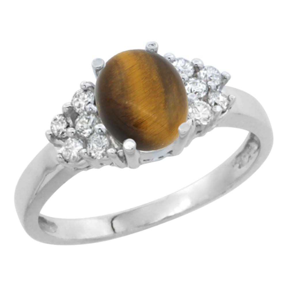 10K White Gold Natural Tiger Eye Ring Oval 8x6mm Diamond Accent, sizes 5-10