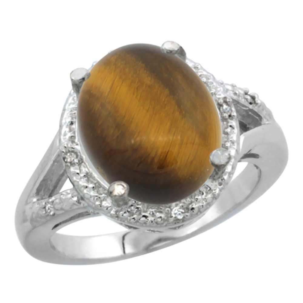 14K White Gold Natural Tiger Eye Ring Oval 12x10mm Diamond Accent, sizes 5-10