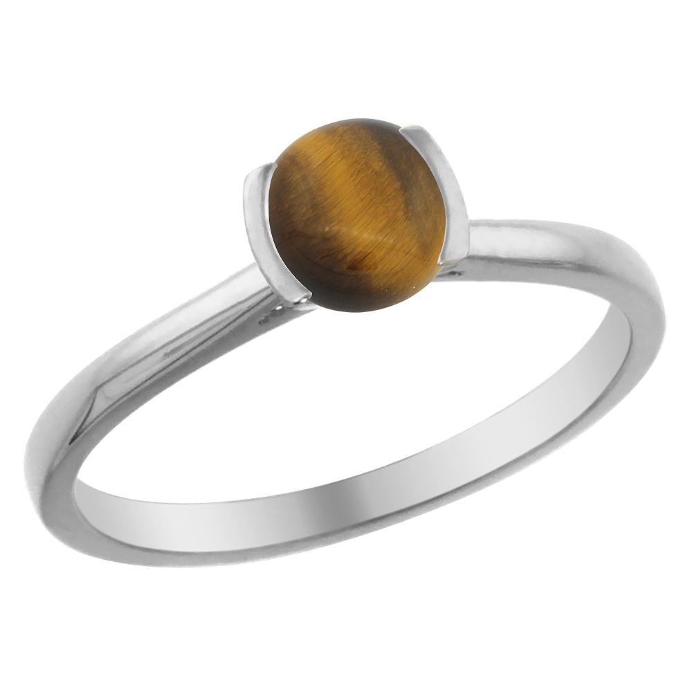 14K White Gold Natural Tiger Eye Solitaire Ring Round 5mm, sizes 5 - 10