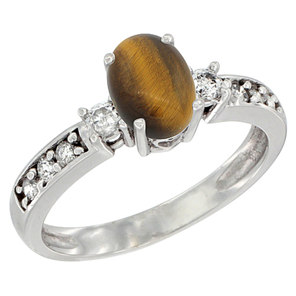 10k White Gold Natural Tiger Eye Ring Oval 7x5 mm Diamond Accent, sizes 5 - 10