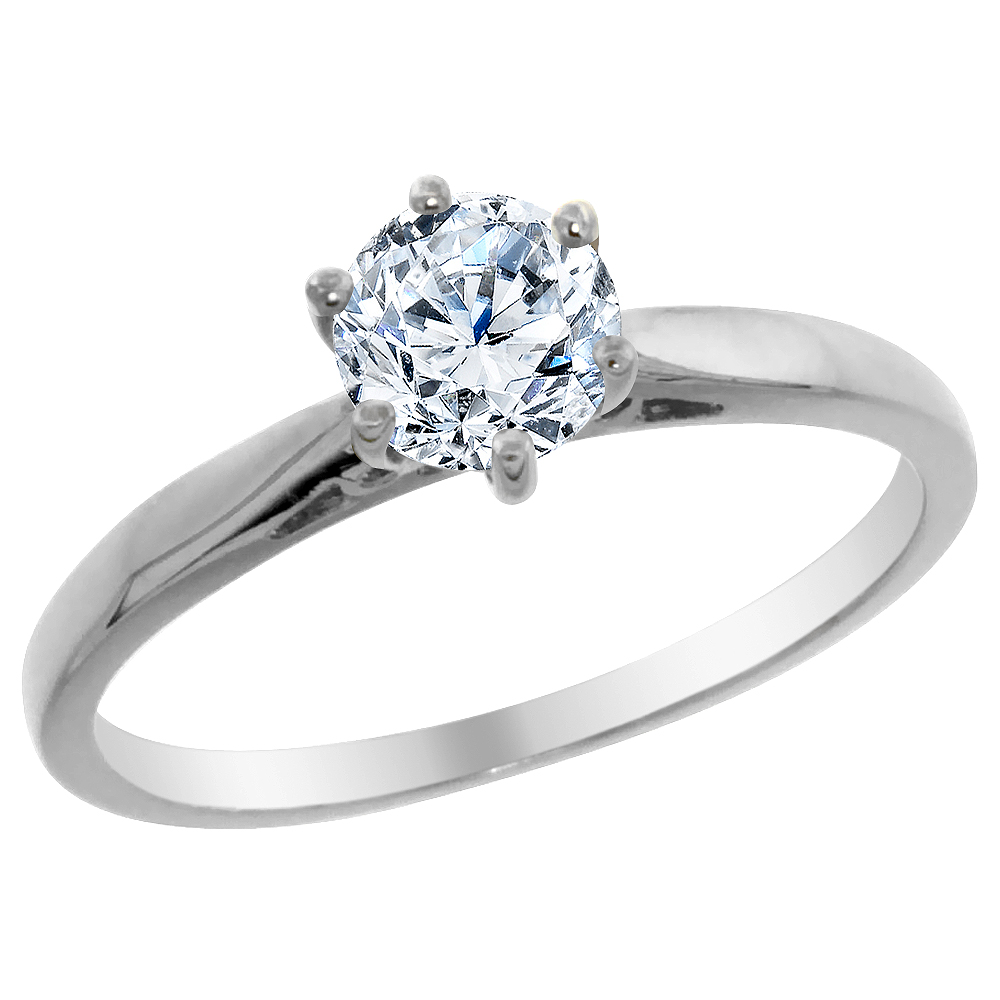 14K White Gold 0.5 cttw Diamond Solitaire Ring Round, sizes 5 - 10