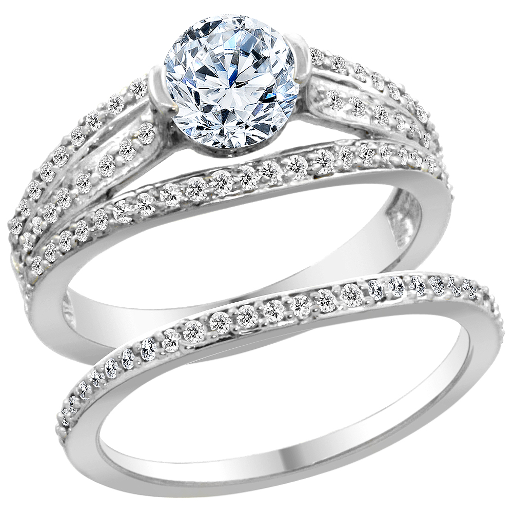14K White Gold Diamond 2-piece Engagement Ring Set 1.15ct, sizes 5 - 10
