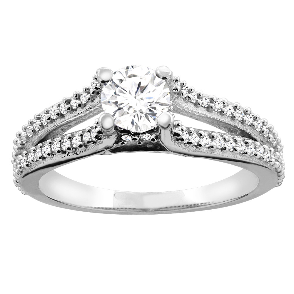 10K White Gold 0.78 cttw Round Diamond Split Shank Engagement Ring, sizes 5 - 10